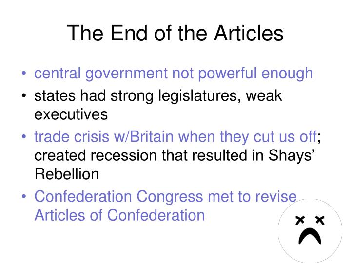 The End of the Articles