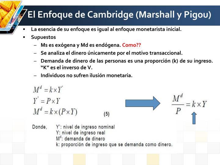 El Enfoque de Cambridge (Marshall y Pigou)