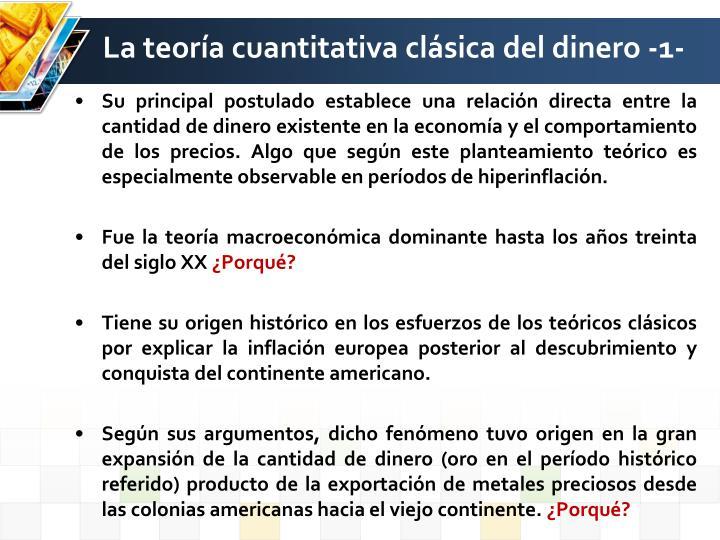 La teoría cuantitativa clásica del dinero -1-