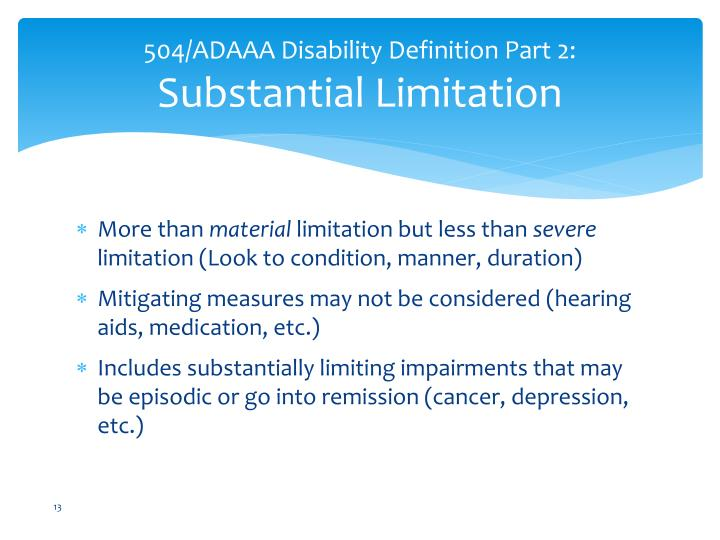 504/ADAAA Disability Definition Part 2: