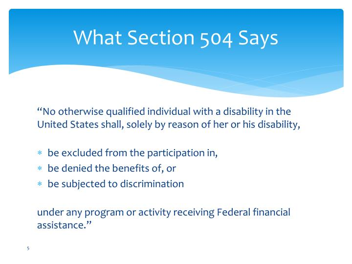 What Section 504 Says