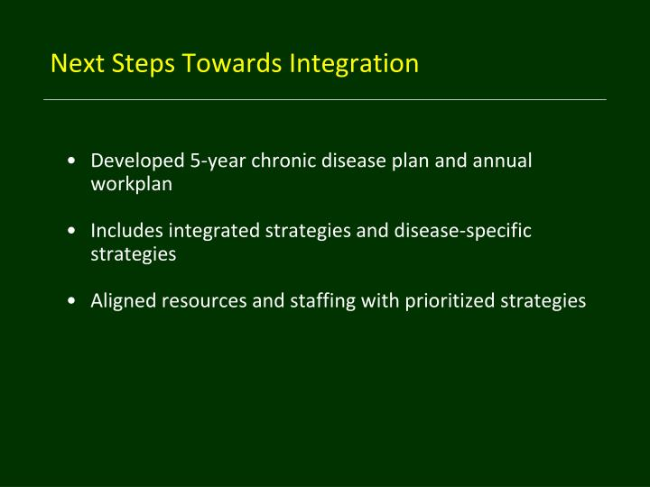 Next Steps Towards Integration