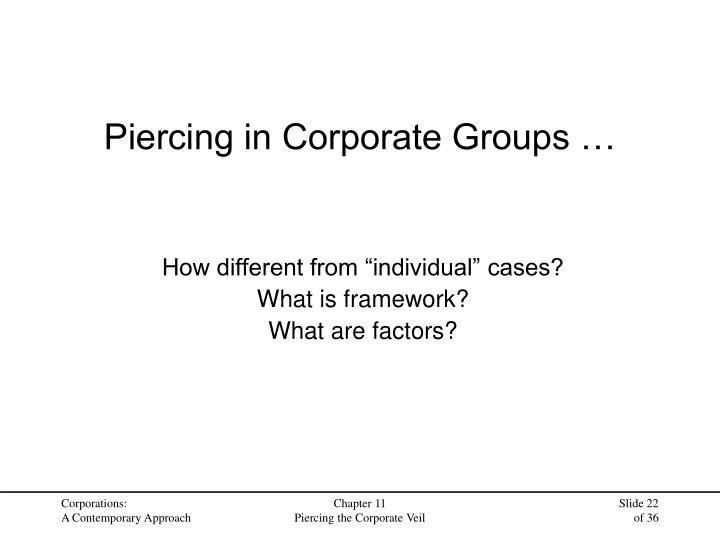 Piercing in Corporate Groups …