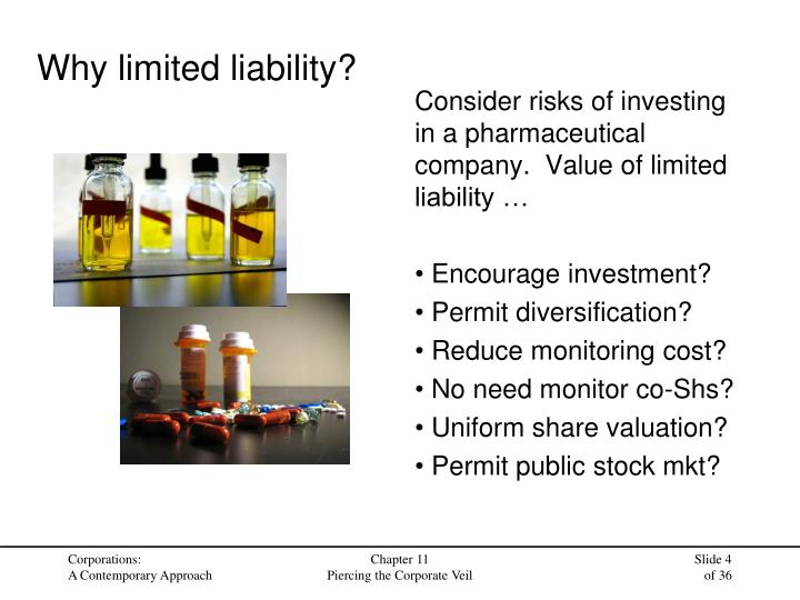 Consider risks of investing in a pharmaceutical company.  Value of limited liability …