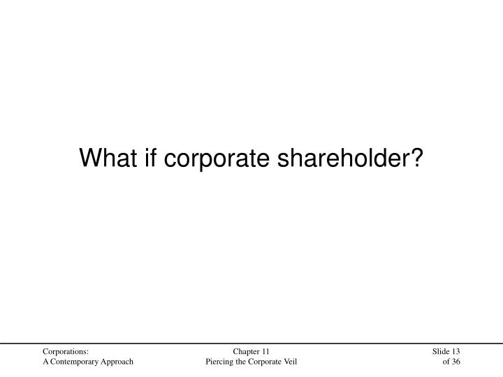 What if corporate shareholder?