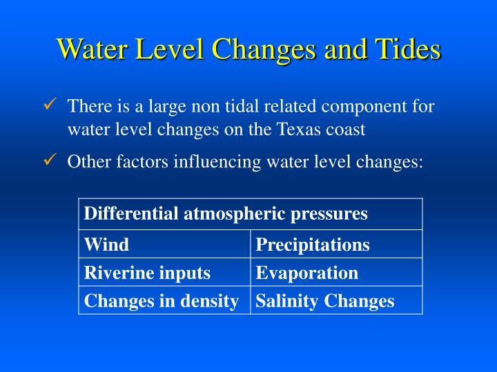 Water Level Changes and Tides