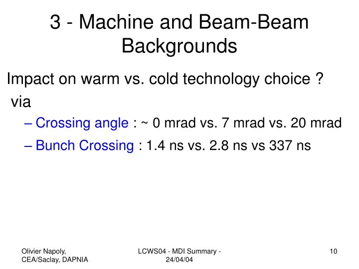 3 - Machine and Beam-Beam Backgrounds