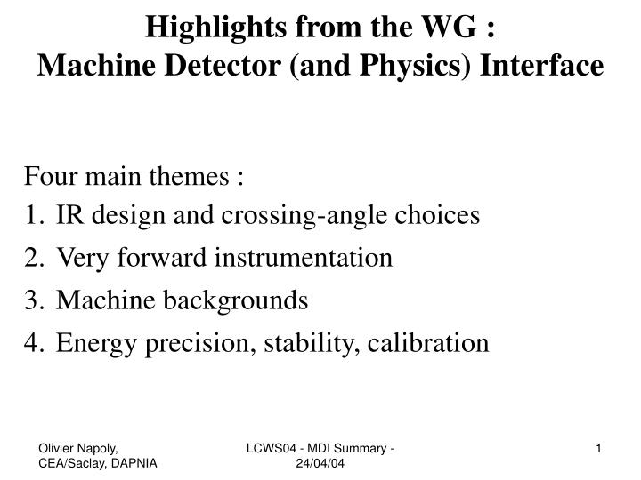 Highlights from the WG :