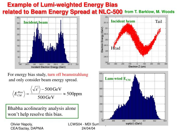 Example of Lumi-weighted Energy Bias