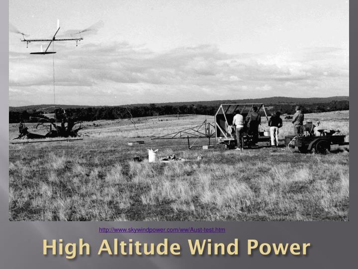High Altitude Wind Power