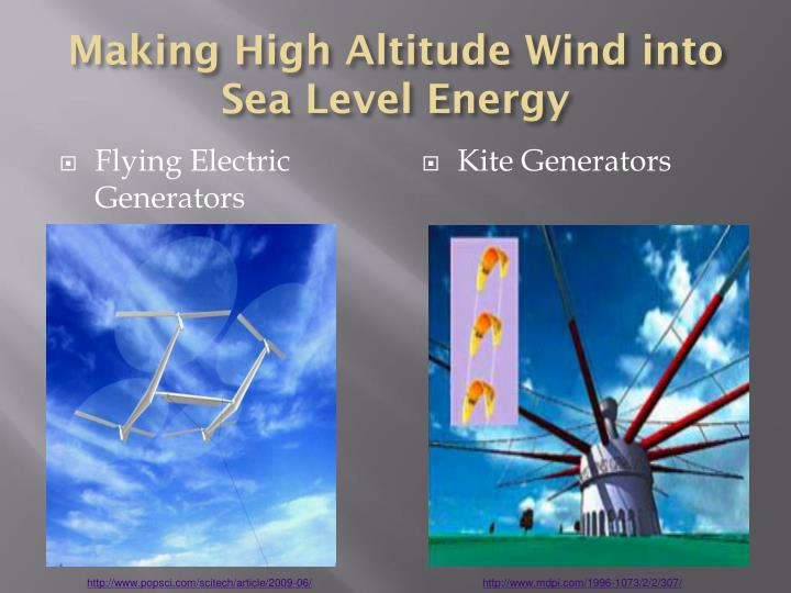 Making High Altitude Wind into Sea Level Energy