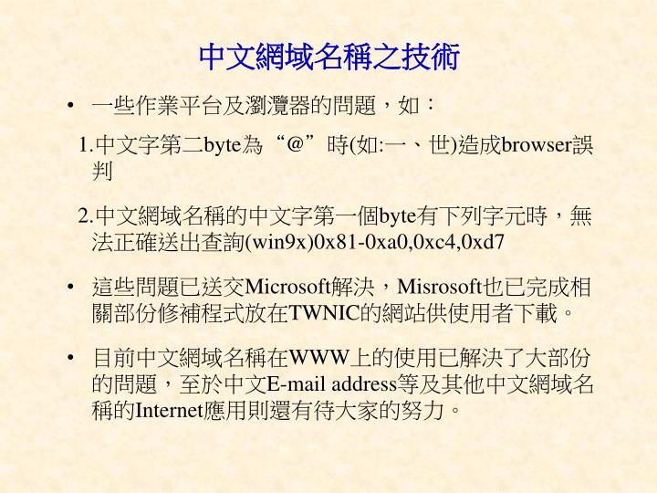 中文網域名稱之技術