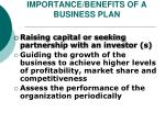 importance benefits of a business plan