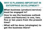 why is planning important in enterprise development