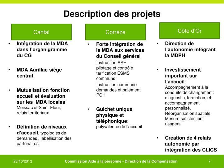 Description des projets