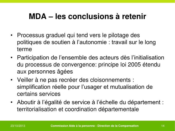 MDA – les conclusions à retenir