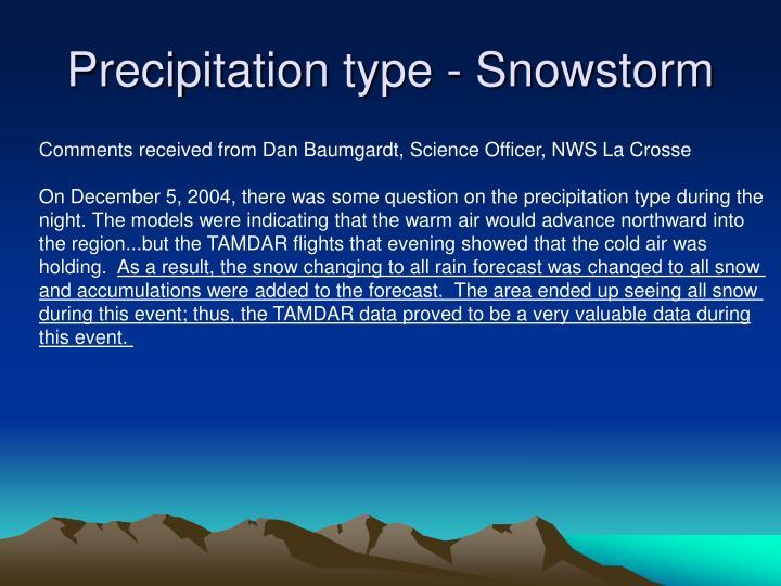 Precipitation type - Snowstorm