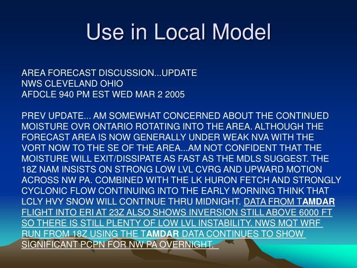 Use in Local Model
