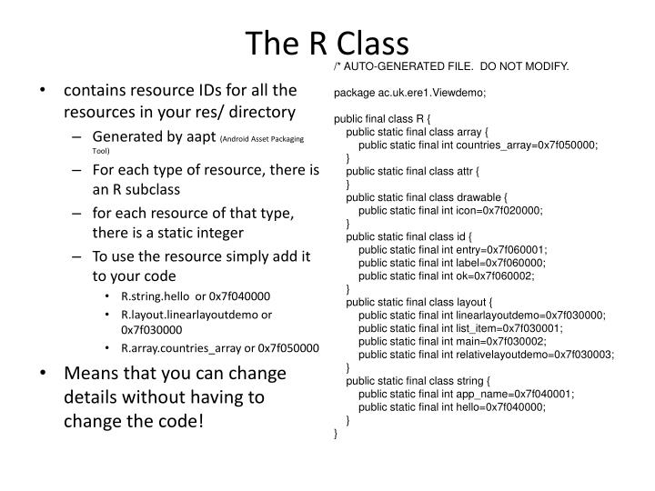 The R Class
