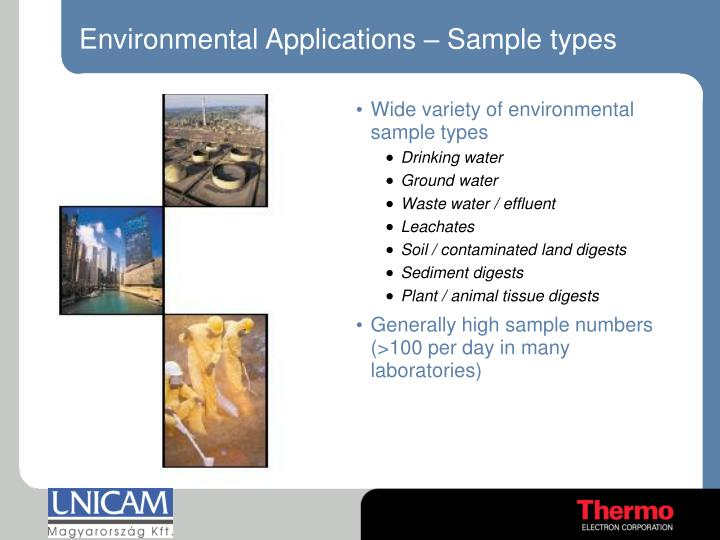 Environmental Applications – Sample types