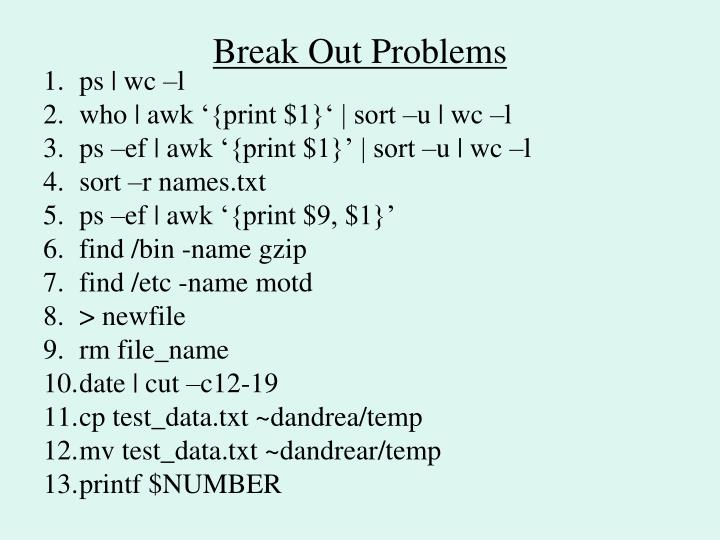 Break Out Problems