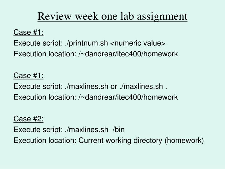 Review week one lab assignment