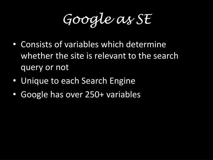 Google as SE