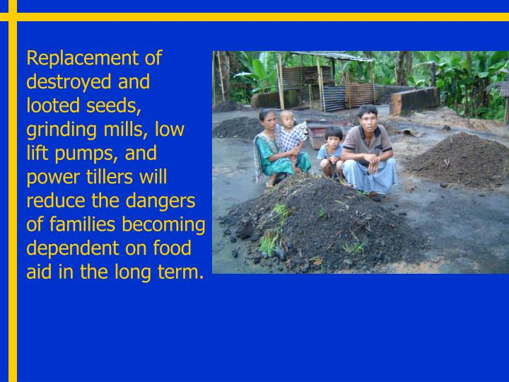Replacement of destroyed and looted seeds, grinding mills, low lift pumps, and power tillers will reduce the dangers of families becoming dependent on food aid in the long term.