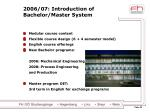 2006 07 introduction of bachelor master system