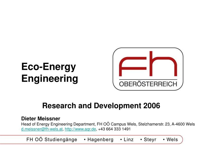Eco-Energy Engineering