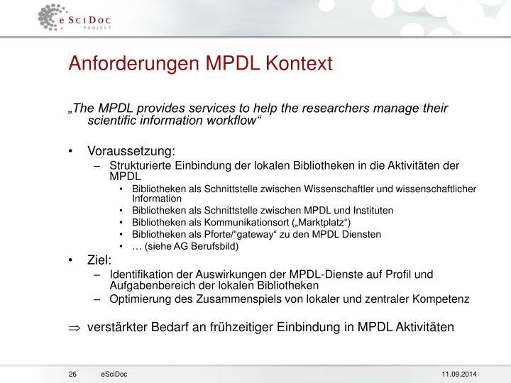 Anforderungen MPDL Kontext