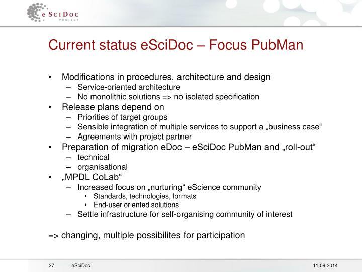 Current status eSciDoc – Focus PubMan