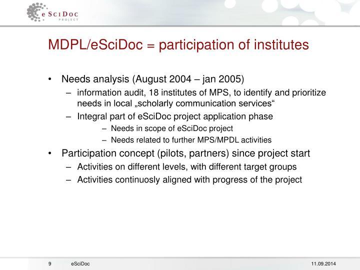 MDPL/eSciDoc = participation of institutes