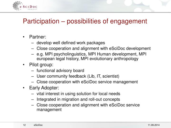 Participation – possibilities of engagement