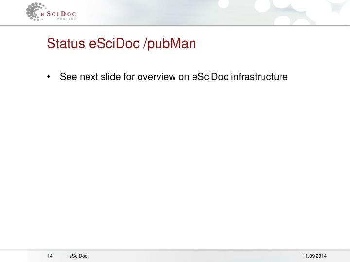 Status eSciDoc /pubMan
