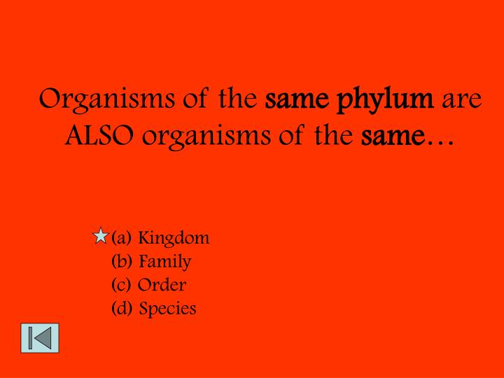 Organisms of the