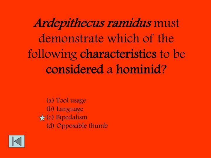 Ardepithecus ramidus