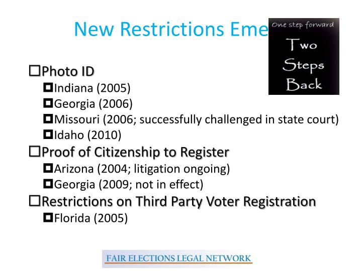 New Restrictions Emerge