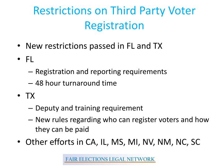Restrictions on Third Party Voter Registration