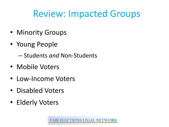 Review: Impacted Groups