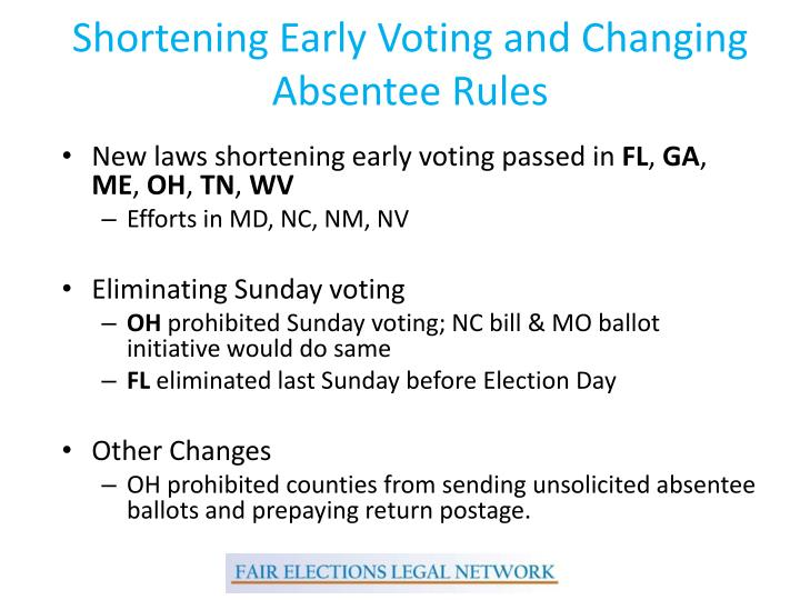 Shortening Early Voting and Changing Absentee Rules