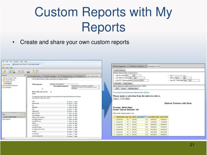Custom Reports with My Reports