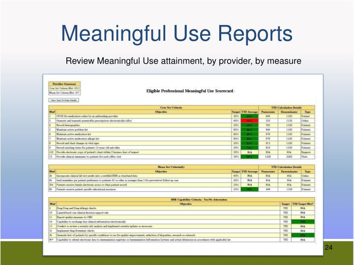 Meaningful Use Reports