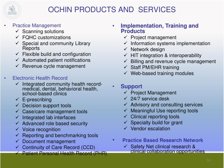 OCHIN PRODUCTS AND  SERVICES