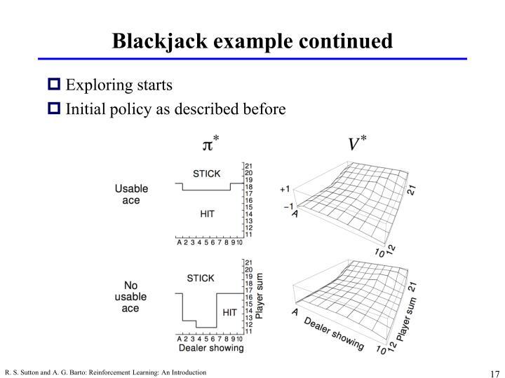 Blackjack example continued