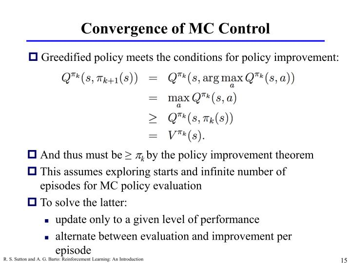 Convergence of MC Control