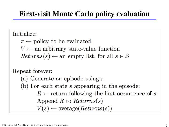 First-visit Monte Carlo policy evaluation