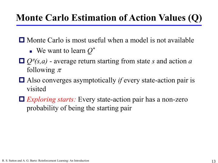 Monte Carlo Estimation of Action Values (Q)