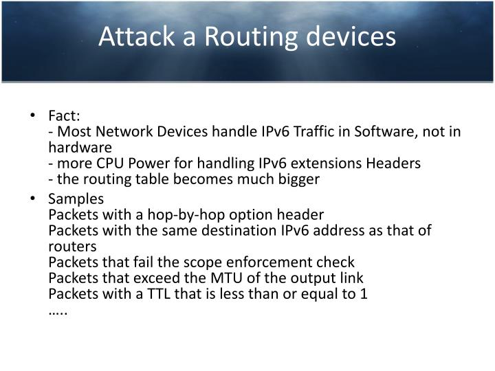 Attack a Routing devices