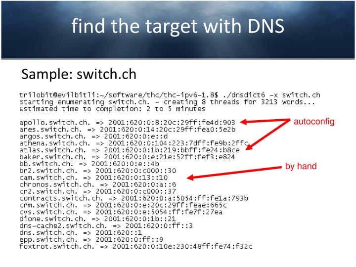 find the target with DNS